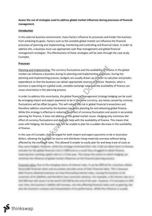 four elements of financial management essay