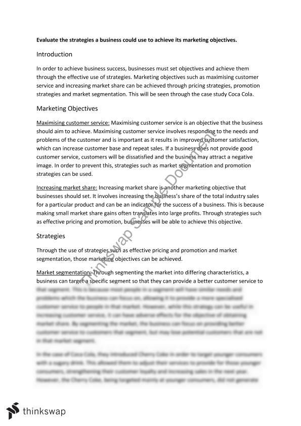 hsc section long essay response marketing objectives year  hsc section 4 long essay response marketing objectives