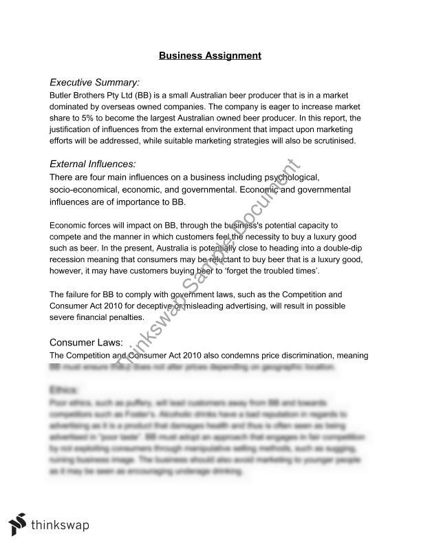 Business Studies Business Report | Year 12 Hsc - Business Studies