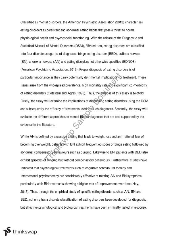 Essay on eating disorders and media