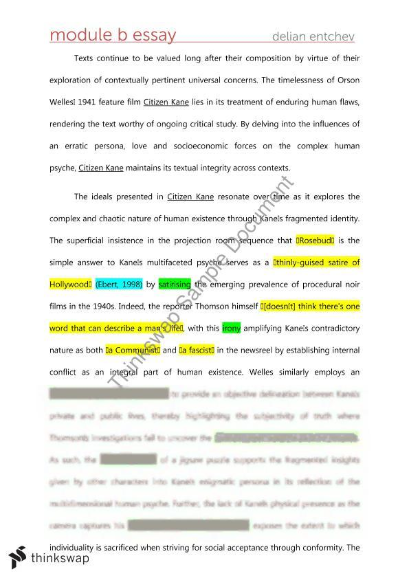 Bon Citizen Kane Critical Essay Yearhsc English Advanced Citizen Kane Critical  Essay
