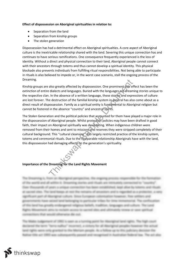 in what ways has dispossession continued to affect aboriginal spiritualities hsc