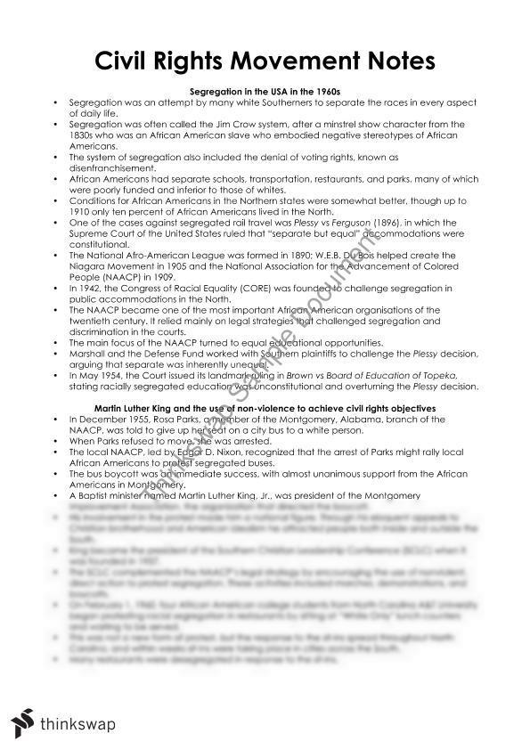 Civil right movement essay
