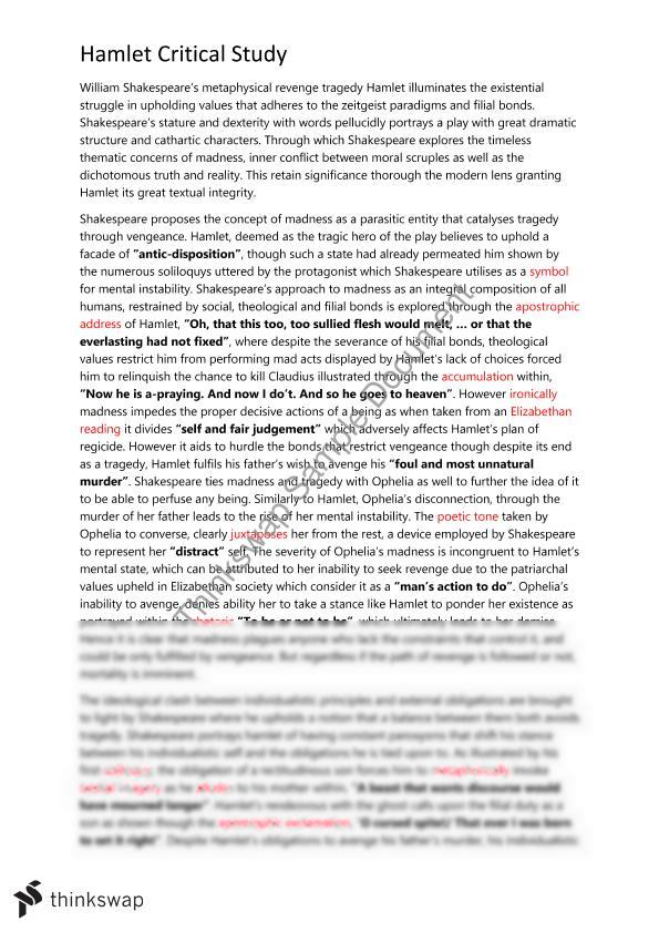 Hamlet thesis statements on revenge