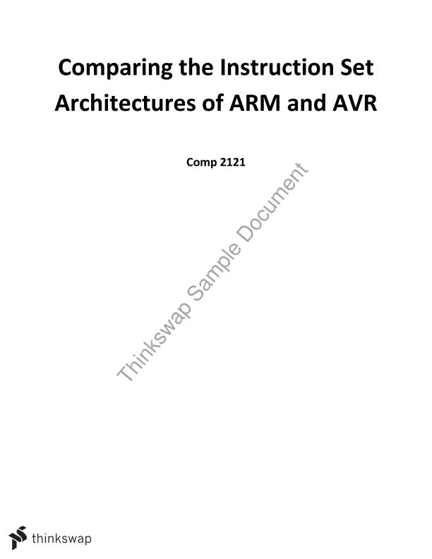 Comparing The Instruction Set Architectures Of Arm And Avr