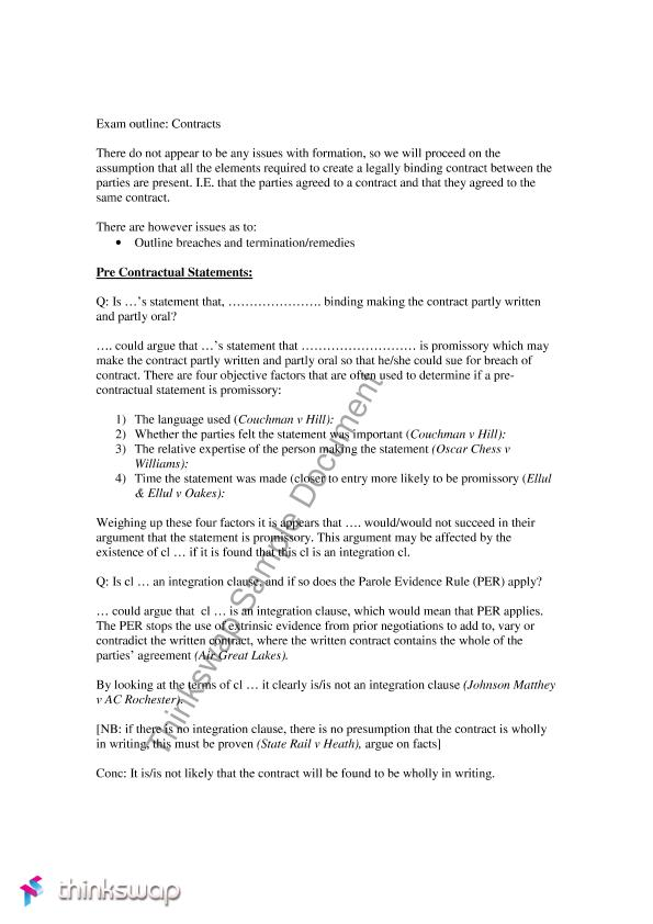 Contracts Summary And Fake Exam Answer IE If You Fill In The