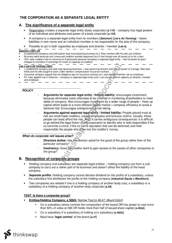 Corporations Law Summary Notes LAW Corporations Law Thinkswap - Corporation legal documents