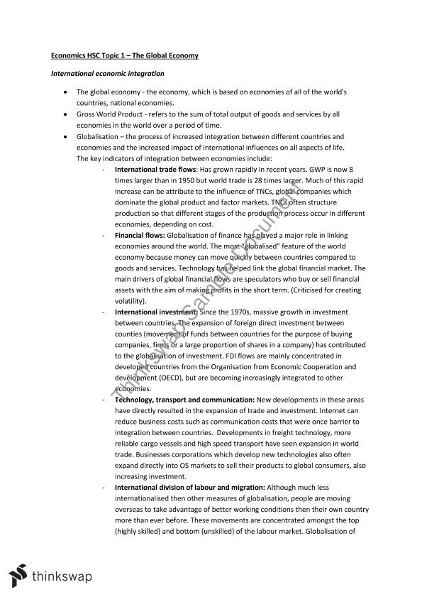 Hsc economics globalisation china essay