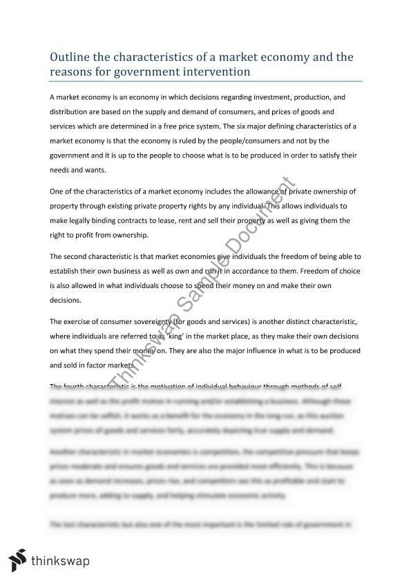 Characteristics of the market essay