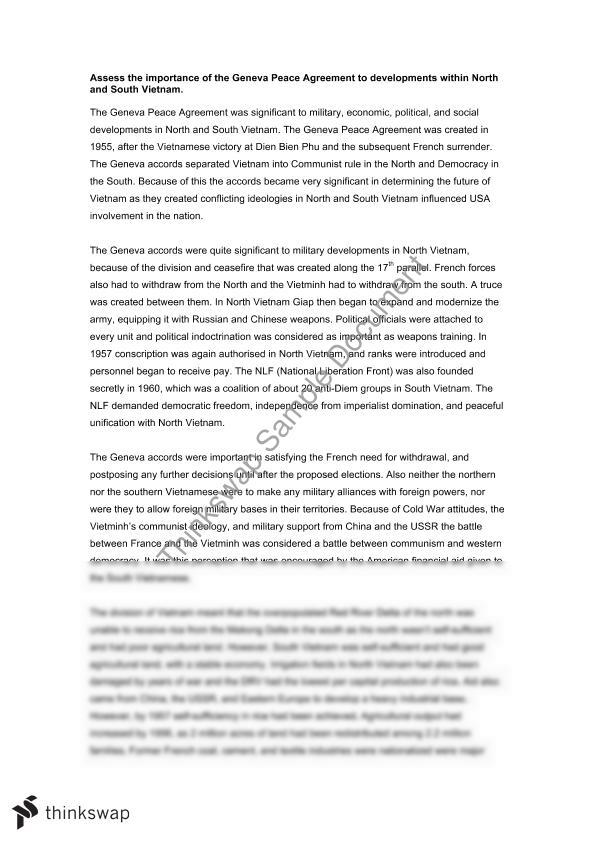 Geneva Peace Agreement Indochina Essay Year 12 Hsc Modern