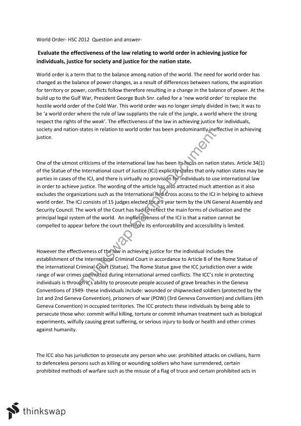 hsc essay effectiveness of world order year hsc legal  hsc essay effectiveness of world order
