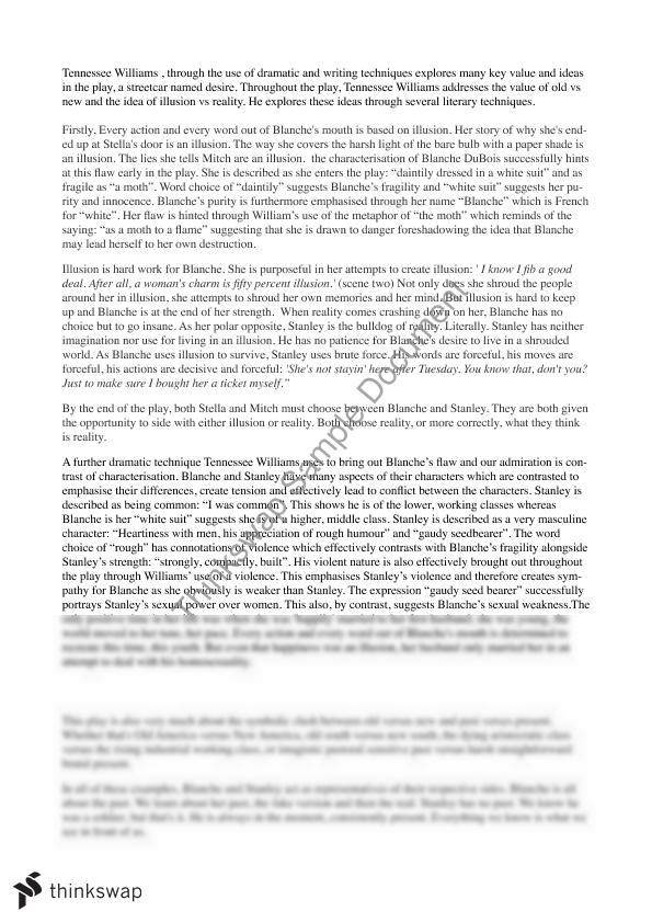 streetcar named desire sympathy for blanche essay