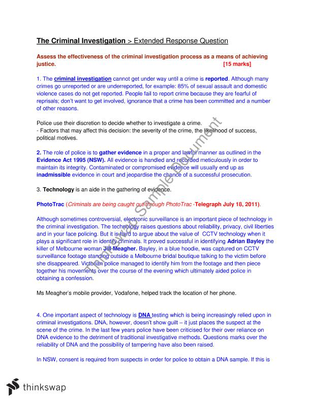 criminal investigation essay year hsc legal studies thinkswap criminal investigation essay