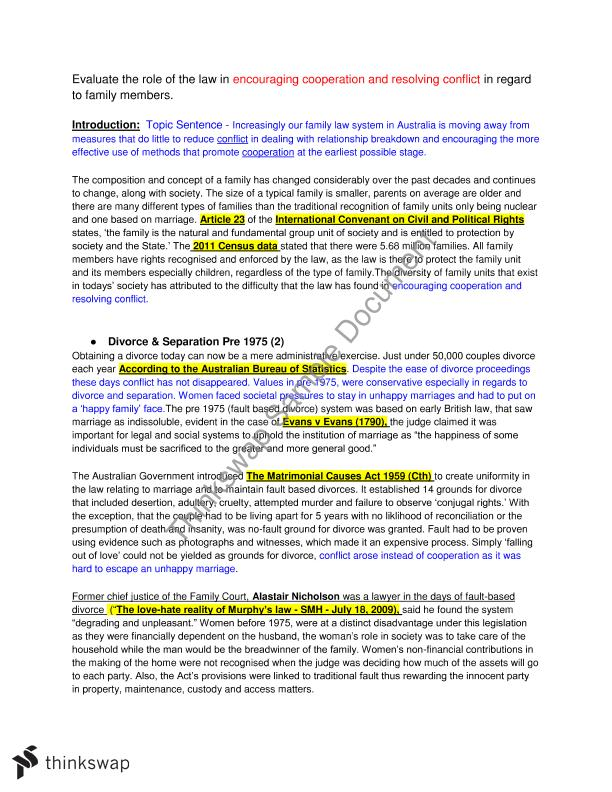family law essay example Legal studies: family law essay criteria: non-specific • integrates relevant examples such as legislation, cases, media, international instruments and documents  example (b) evaluate the effectiveness of the law in achieving justice for parties involved in relationship breakdowns.