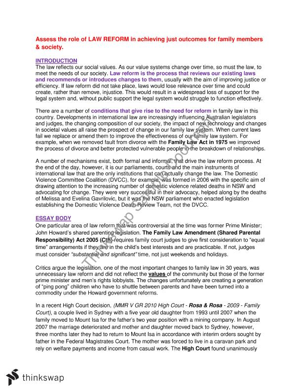 Family Law Essay  Underfontanacountryinncom Family Law Essay