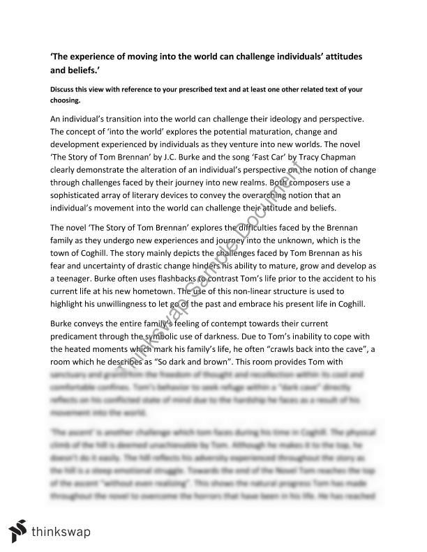 A Modest Proposal Essay Topics Into The World English Essays Examples also Example Of Essay With Thesis Statement Into The World  Year  Hsc  English Standard  Thinkswap Business Essay Format