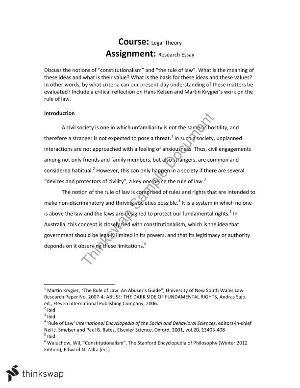 Research essay for LAWS2320 Legal Theory