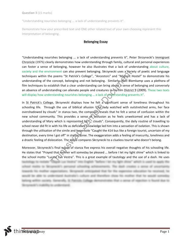 Belonging essay english advanced