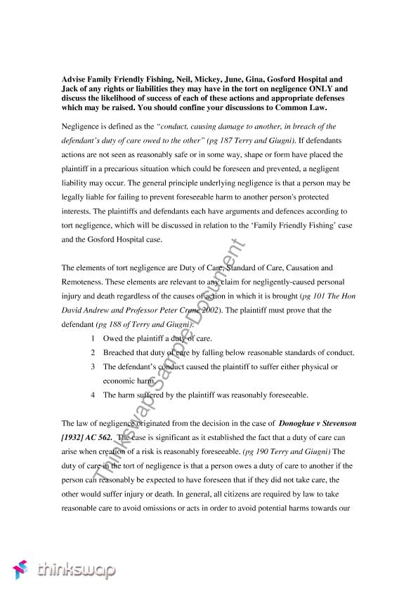 Duty Essay  Barcafontanacountryinncom Duty Essay Essay On Torts And Negligence Relevance To A Prescribed