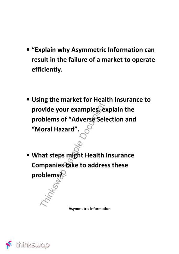 Assymetric Information Moral Hazard Adverse Selection Econ1101