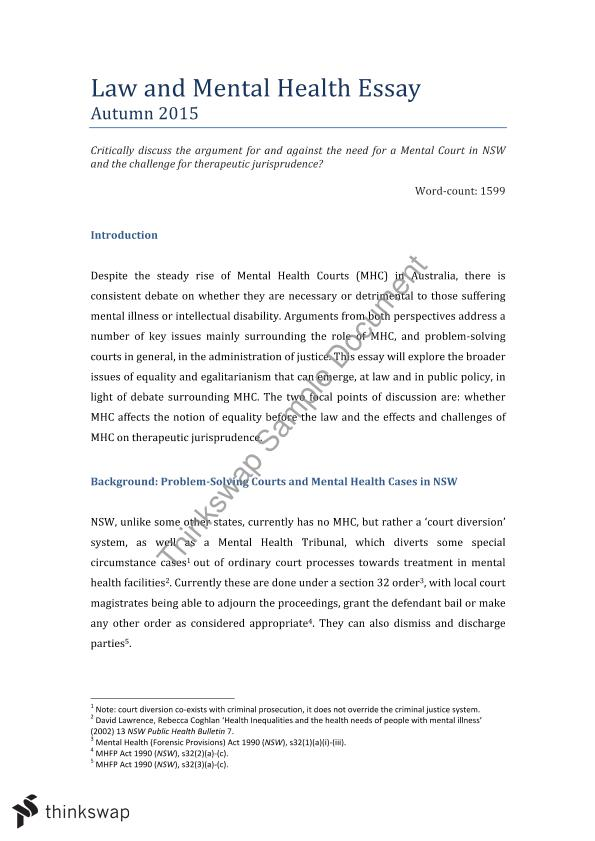 Law And Mental Health Essay    Mental Health And The Law  Law And Mental Health Essay