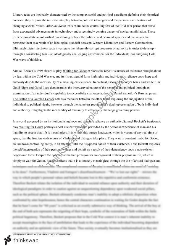 Analysis Essay Thesis Waiting For Godot Critical Essays A Level English Essay also Apa Essay Papers Waiting For Godot Essays Meaning Reflective Essay Sample Paper