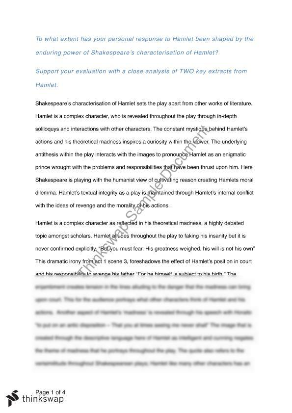 hamlet analysis essay Hamlet essay examples 1,934 total results an analysis of hamlet in a part of more complex situation in a tragedy hamlet by william shakespeare 1,843 words 4.