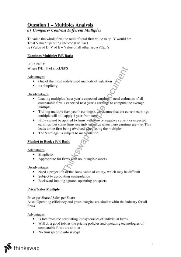 need a comparison contrast essay using the valuation approa