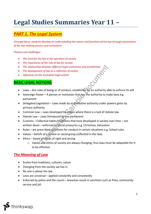 Legal Studies Preliminary - Summaries | Year 11 HSC - Legal