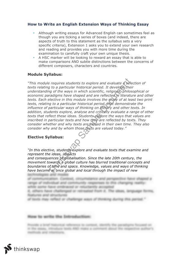 ways of thinking essay structure  year  hsc  english extension  ways of thinking essay structure