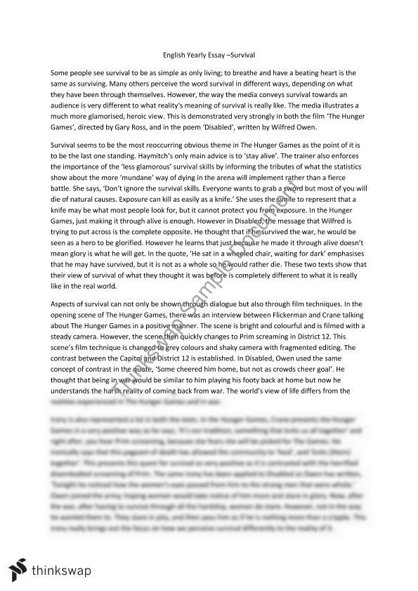 The Hunger Games And Disabled Essay  Year  Hsc  English  The Hunger Games And Disabled Essay
