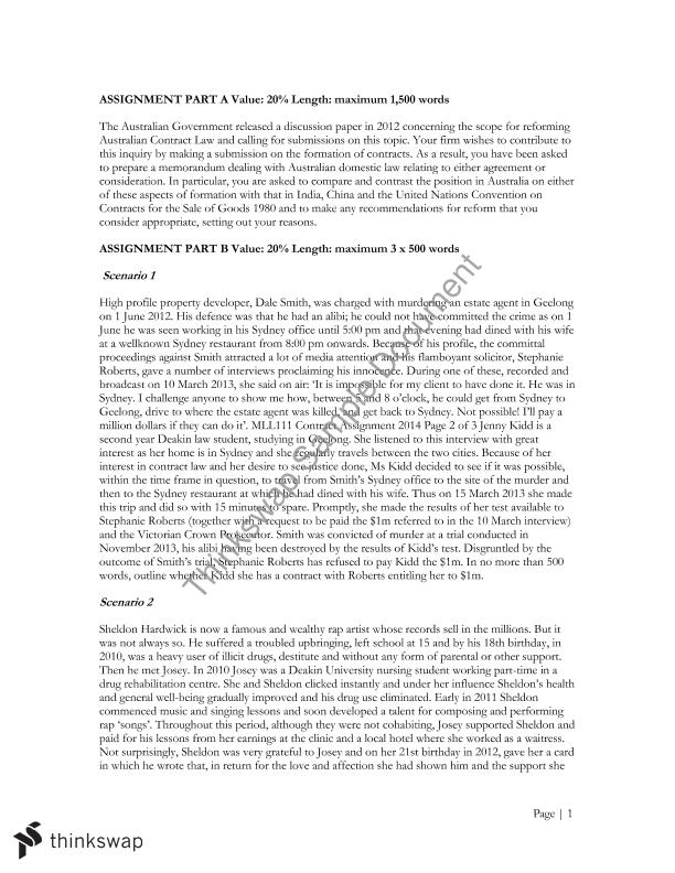Contract law assignment 1 part a and b mll111 for B b contract