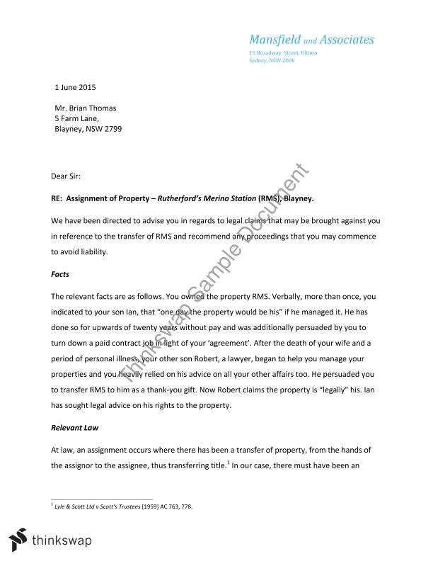 Legal Advice Letter Assignment    Equity And Trusts  Thinkswap