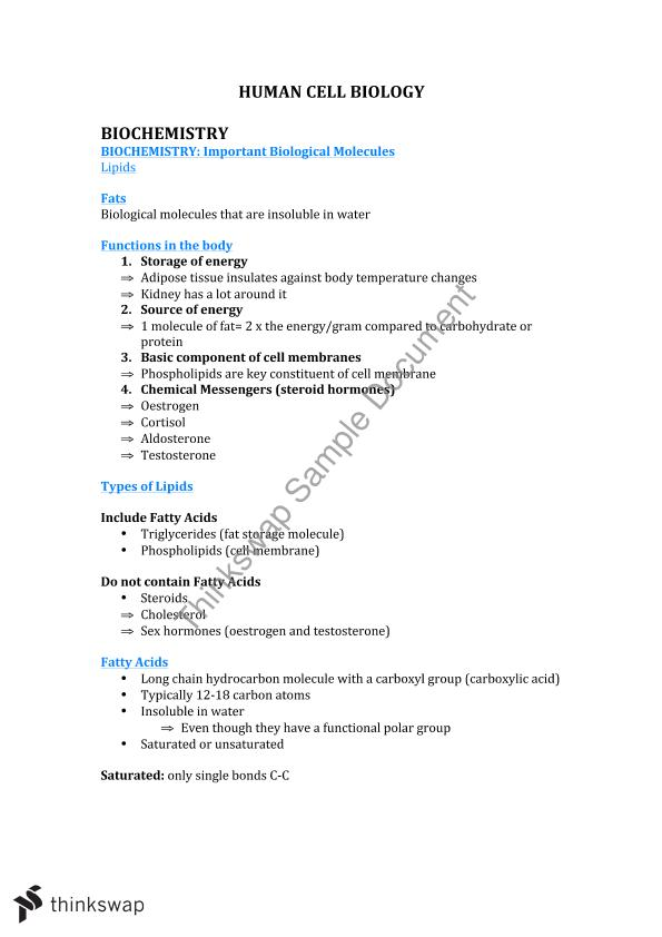 Human Cell Biology Lecture Notes | BIOS1167 - Human Cell Biology