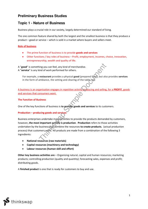 Nature of business topic notes | College paper - July 2019