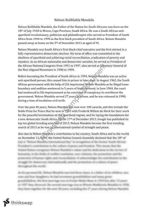 Nelson Mandela  Year  Hsc  Modern History  Thinkswap Nelson Mandela Genetically Modified Food Essay Thesis also Thesis Statement Essay  Essay Proposal Sample