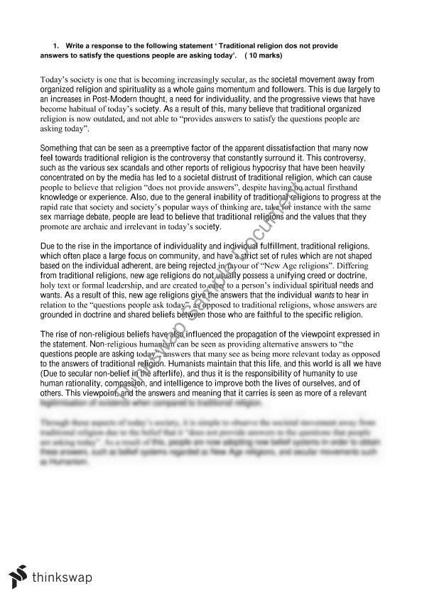 George Washington Essay Paper Religion And Non Religion Essay Macbeth Essay Thesis also Apa Sample Essay Paper Religion And Non Religion Essay  Year  Hsc  Studies Of Religion  Thesis Statement Examples For Persuasive Essays