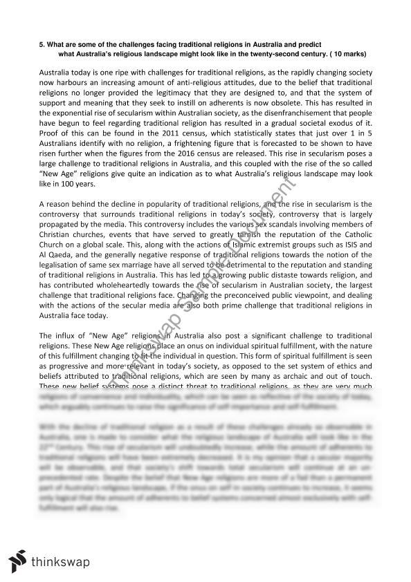 Religion And Non Religion Essay  Year  Hsc  Studies Of Religion  Religion And Non Religion Essay