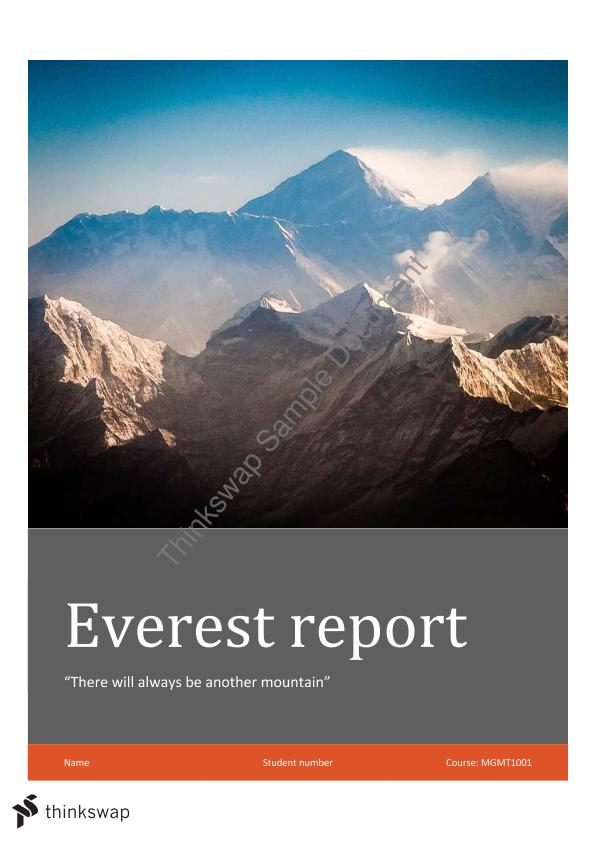 mgmt 1001 everest final report Check out our top free essays on mgmt1001 everest to help you write your  the key market vendors profiled in the report include mccormick  rolex brand mgmt.
