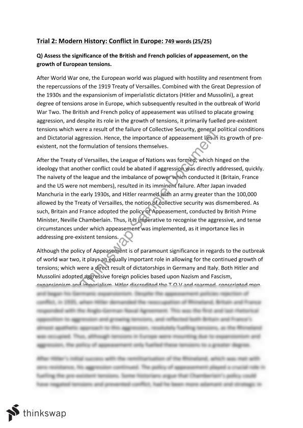 hsc modern history conflict in europe appeasement essay year  hsc modern history conflict in europe appeasement essay
