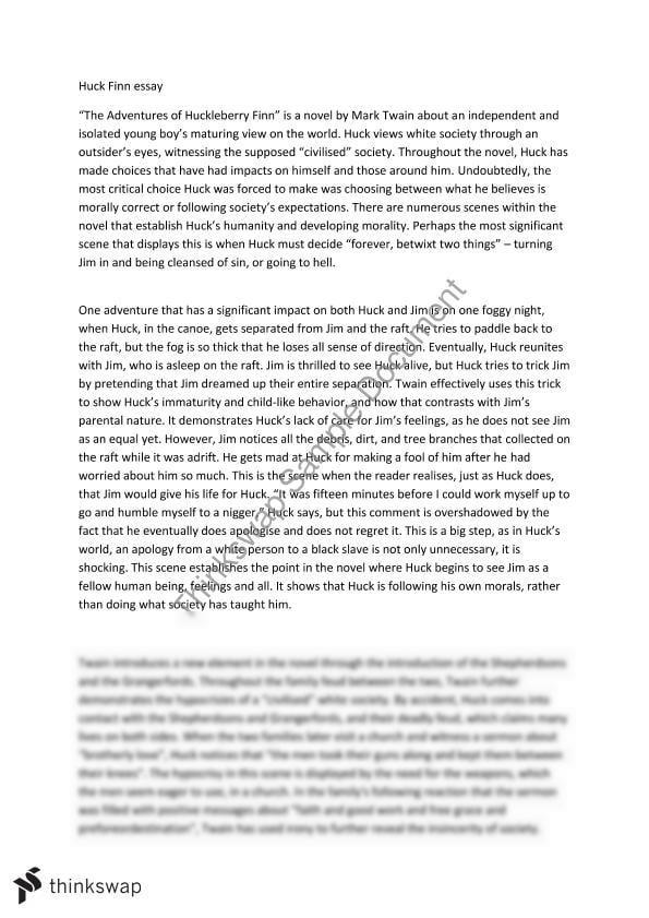 huck finn essay thesis