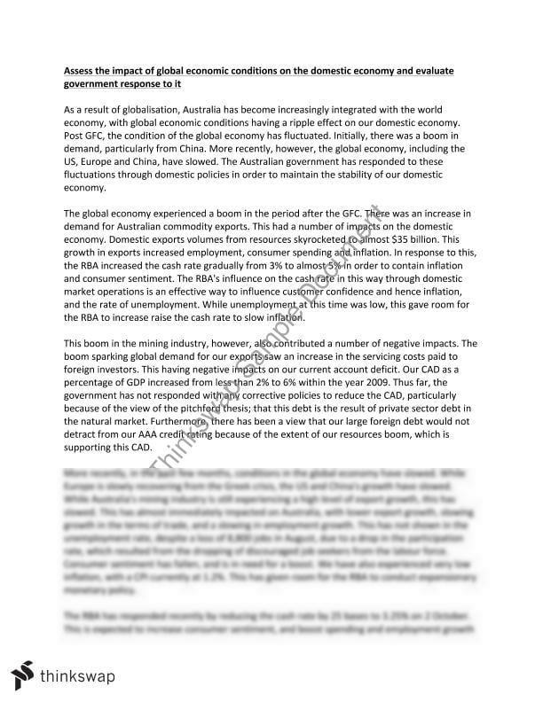 HSC Economics Essay: Global Economy | Year 12 HSC - Economics ...