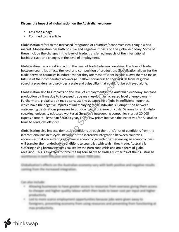 hsc economics essay globalisation  year  hsc  economics  thinkswap hsc economics essay globalisation