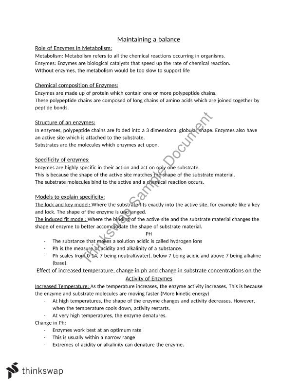 HSC Biology – Maintaining a Balance notes – dot-point summary