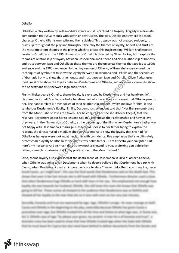 Shakespeare Study Essay Year 11 HSC English Advanced Thinkswap