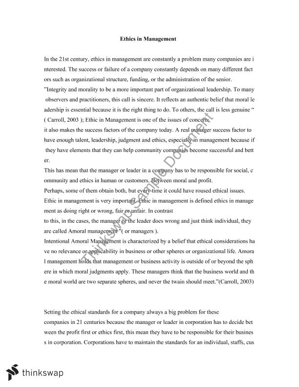 Essay Ethics in Management
