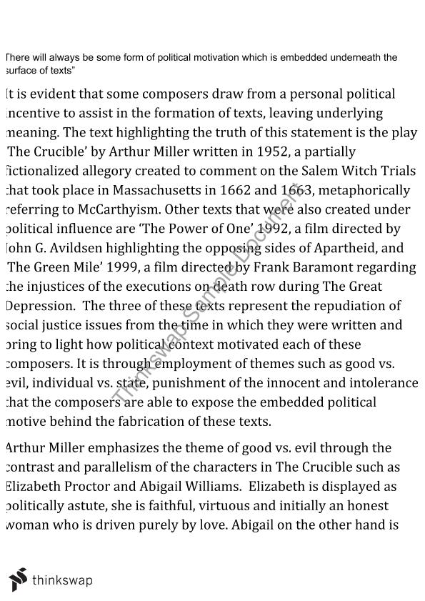 crucible mccarthyism essay Parallels to the witch trials and events in the crucible the salem witch trials and mccarthyism: you will write an explanatory essay.