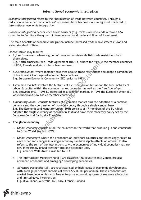 International Economic Integration notes | Year 12 HSC