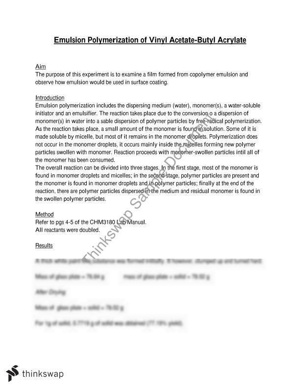 Emulsion Polymerization Of Vinyl Acetate Butyl Acrylate