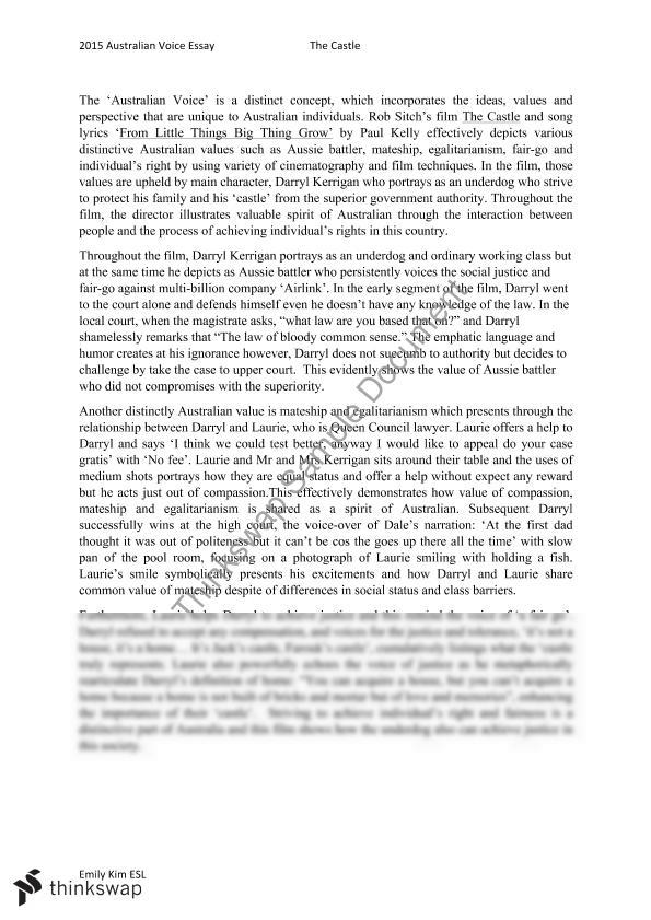 essay castle rob sitch The castle by rob sitch techniques free essays essays - largest database of quality sample essays and research papers on the castle by rob sitch techniques.